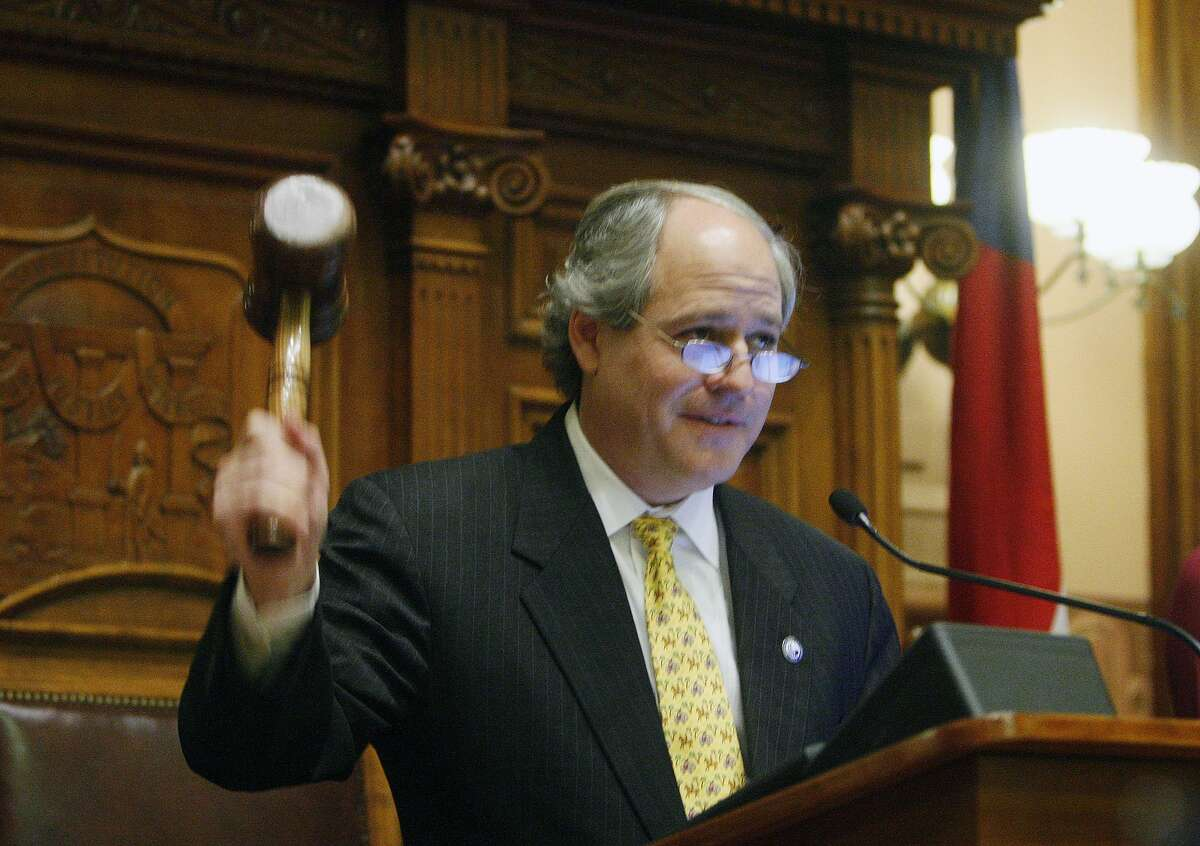A file photo of Georgia Speaker Mark Burkhalter bangs his gavel to bring the House to order and begin the first day of the Georgia General Assembly in Atlanta, Monday, Jan. 11, 2010.