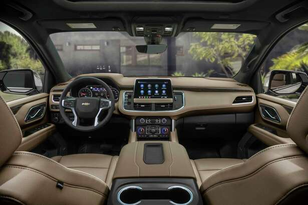The infotainment system on the 2021 Suburban and Tahoe is centered on a 10-inch touchscreen display. A 15-inch head-up display is standard on the High Country and optional on the Premier.