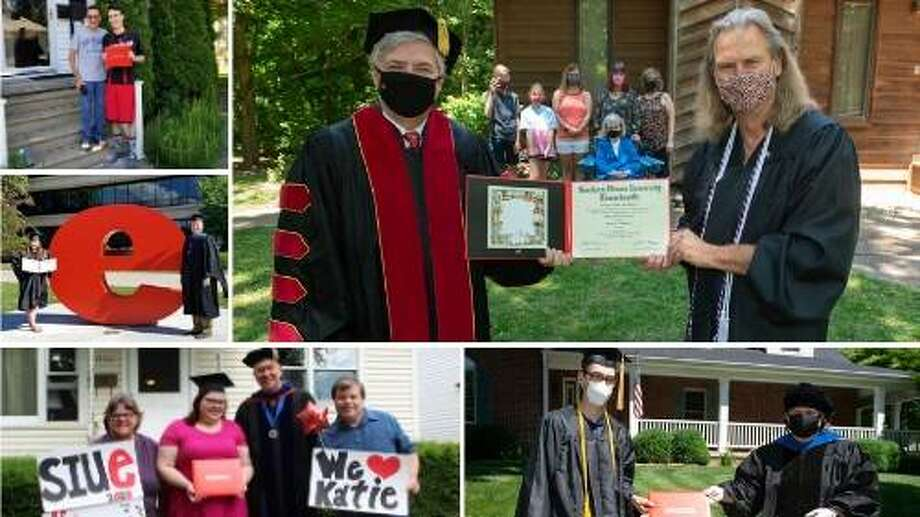 SIUE administrators personally delivered diplomas to students whose names were inadvertently not displayed on the screen during the May 2020 Virtual Commencement ceremonies.