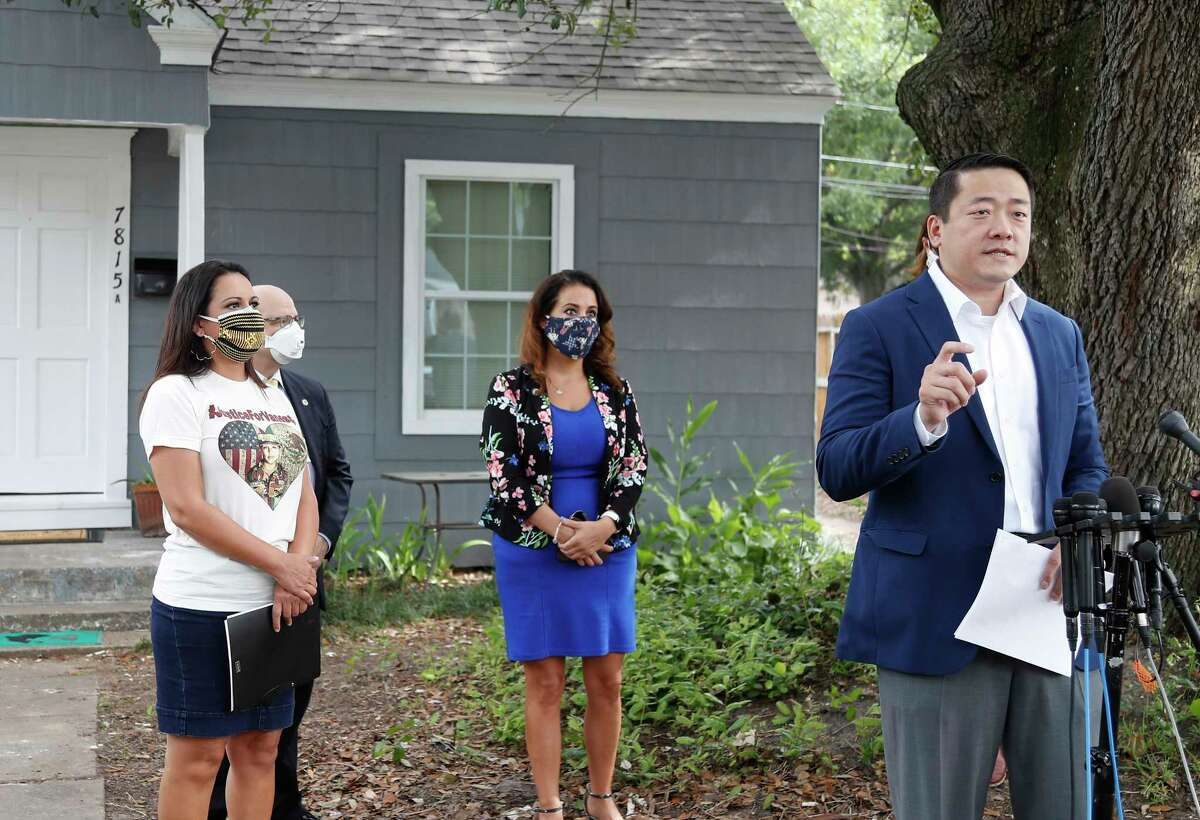 State Rep. Gene Wu and other lawmakers speak to the media to address the HPD Narcotics Division audit, Thursday, July 2, 2020, in Houston, in front of the home where Rhogena Nicholas and Dennis Tuttle, were killed on Harding Street.