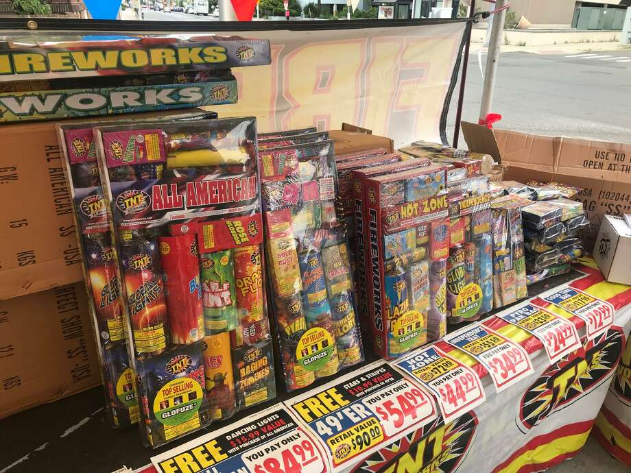 Fireworks for sale at the corner of Summer and North streets in downtown Stamford. Photo: John Nickerson / Staff Photo