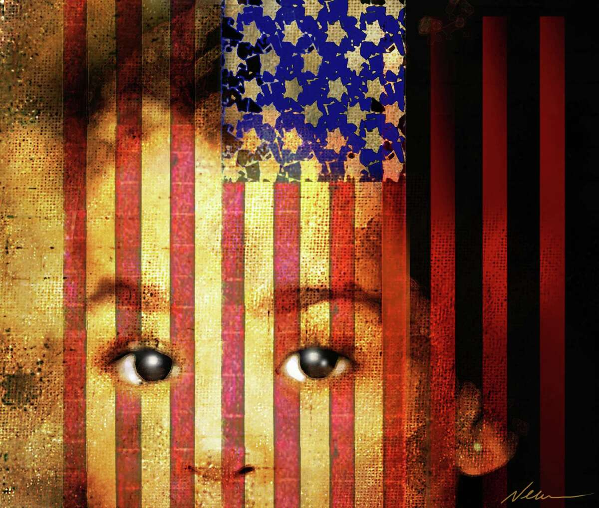 Violence and youth 300 dpi Rick Nease color illustration of child peering out from the bars of American flag. Can be used with stories on the