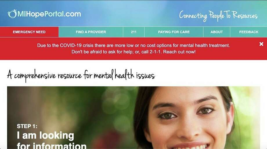 This is a screenshot of the website, www.mihopeportal.com. Upon entering the site, you will see an info box that asks to call 9-1-1 if there is a medical or mental health emergency or if you are involved in or have witnessed a situation that requires immediate assistance.