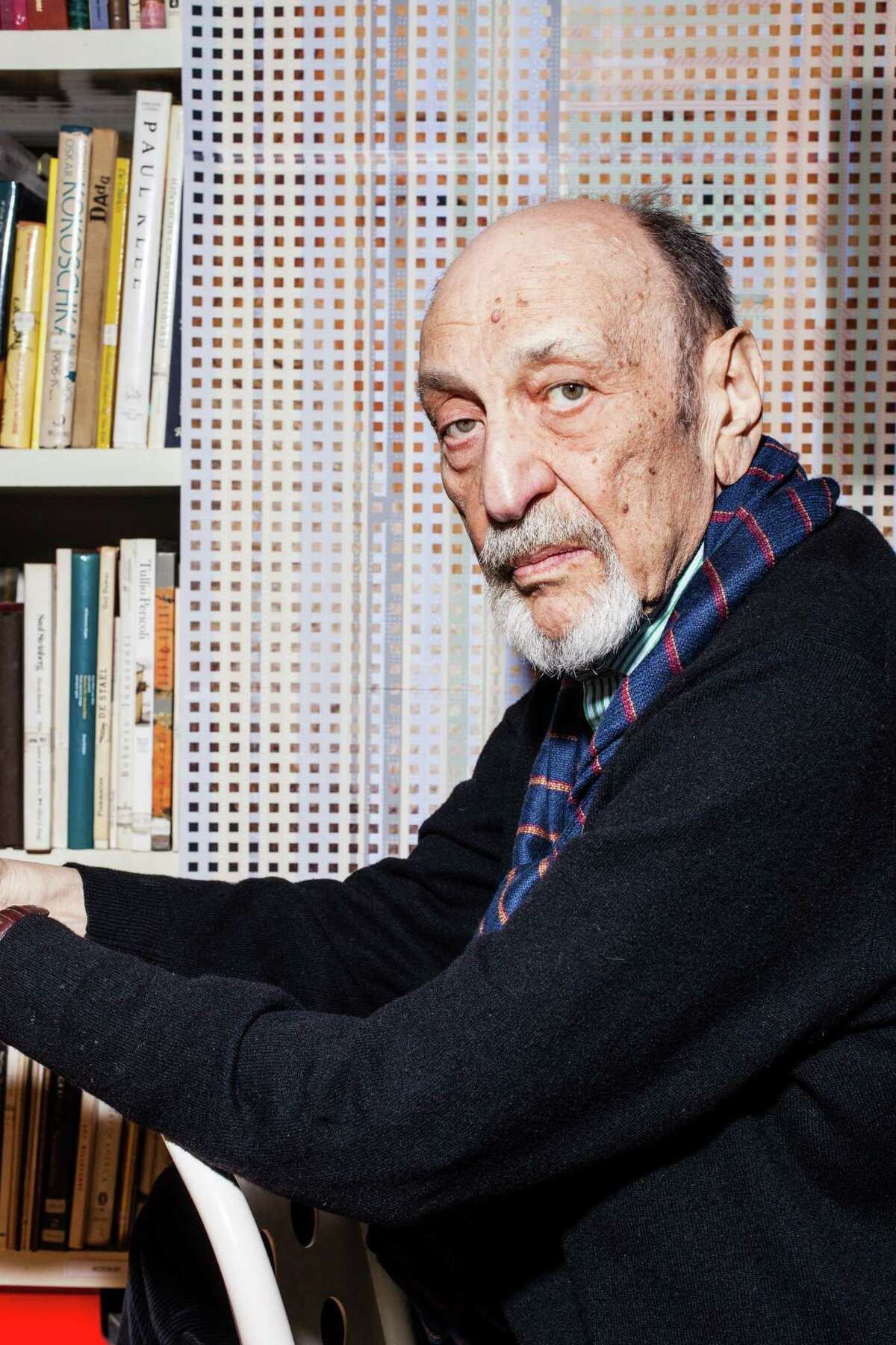 FILE -- Milton Glaser in his studio in Manhattan, Nov. 16, 2012. At the time of his death in June 2020, Glaser was working on a graphical treatment of the word