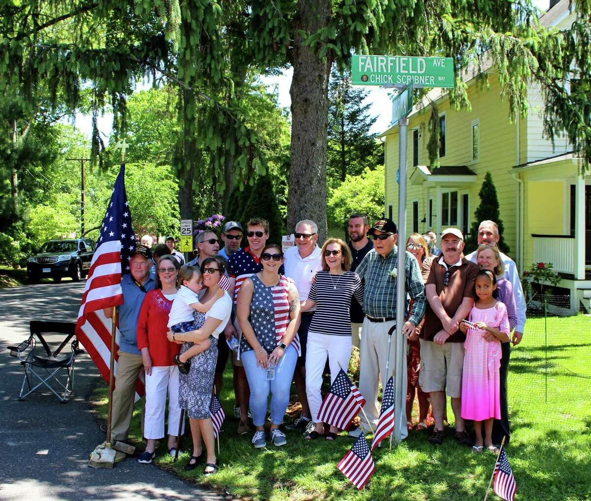 """World War II veteran Charles """"Chick"""" Scribner was honored with a street named for him in Darien."""