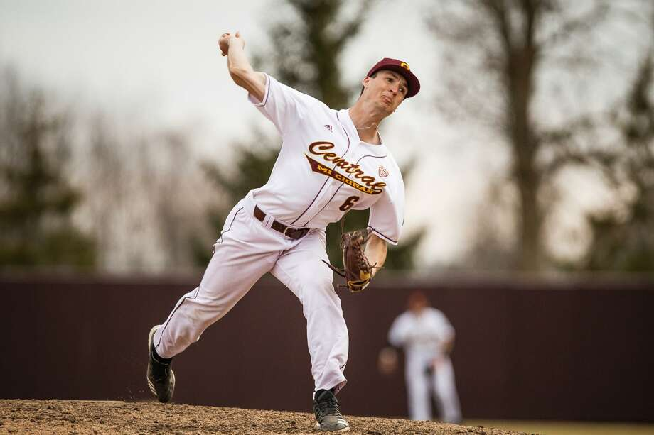 Jordan Patty pitches for Central Michigan University in an unspecified game during the 2019 season. Photo: Cmuchippewas.com