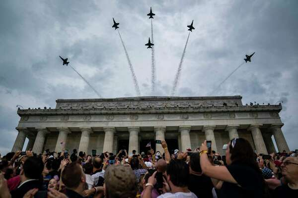 Navy Blue Angels fly over the Lincoln Memorial during the July 4 event in 2019.