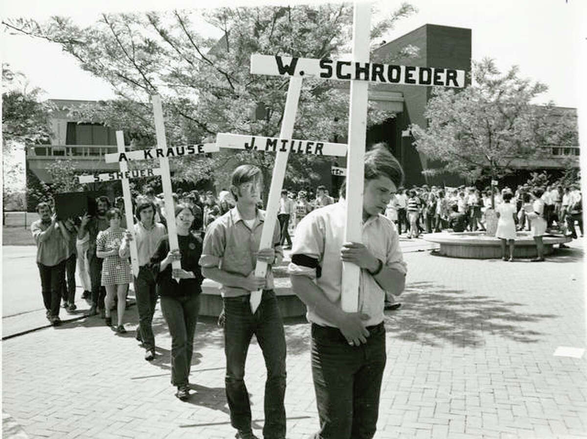 Greg Mudge, right, was among the SIUE students taking part in a protest outside the Student Center on May 5, 1970. It was the day after four Kent State University students were shot and killed by the Ohio National Guard during an anti-war rally.