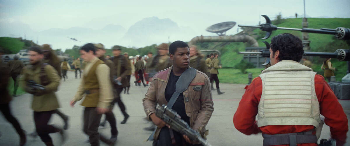 Finn (John Boyega) and Poe Dameron (Oscar Isaac) in