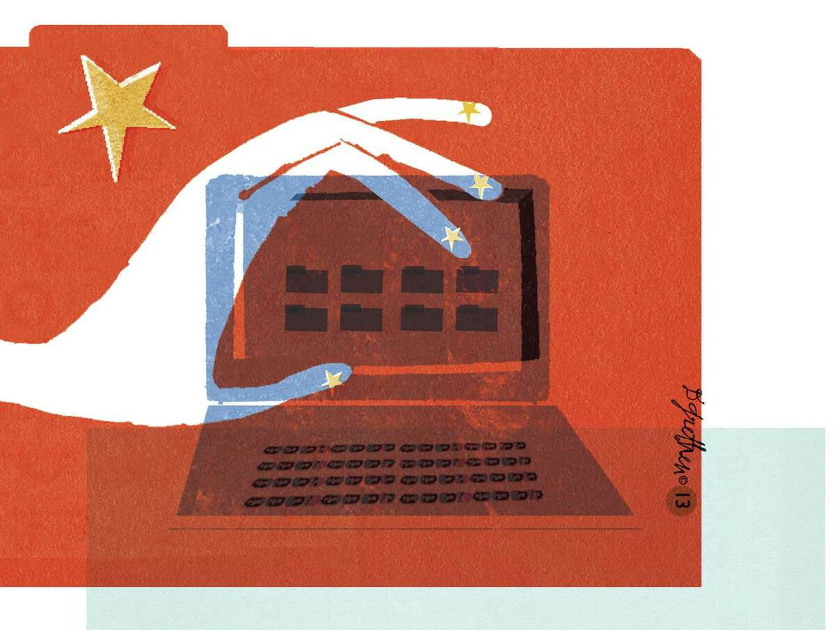 This artwork by Donna Grethen relates to China hacking into The New York Times' computer systems.