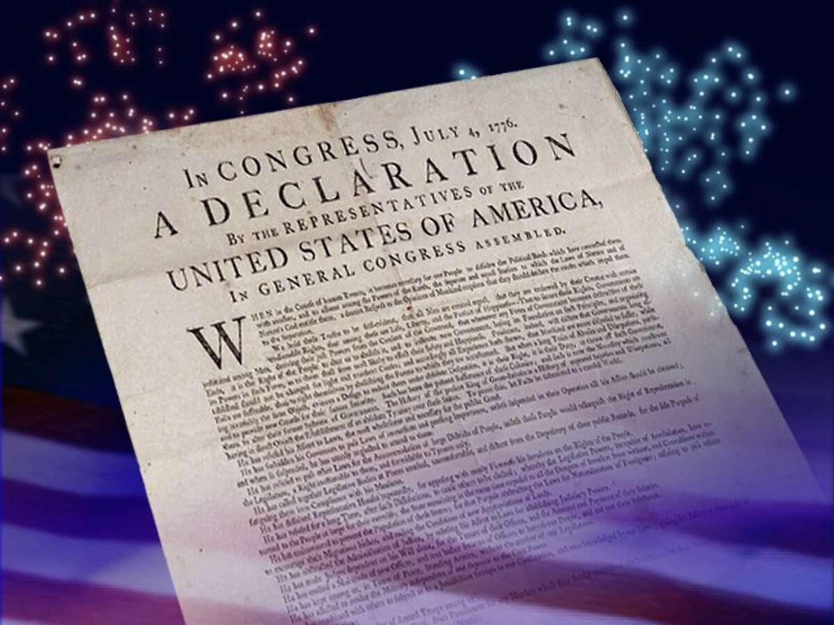 Graphic showing a copy of the Declaration of Independence.