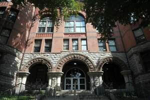 Exterior, Fairfield County Courthouse on Golden Hill Street, Bridgeport, Conn.