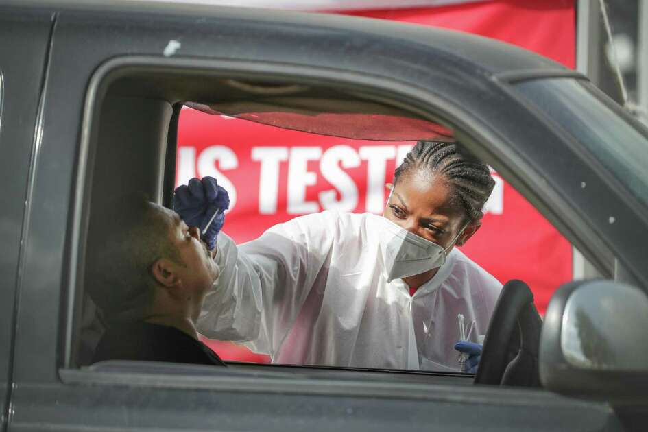 My Family Doctor, 6430 Hillcroft offered a free COVID-19 testing site Thursday, July 2, 2020, in Houston. The long line of people wanted to be tested stretch from the site to and on to the 59 off ramp.