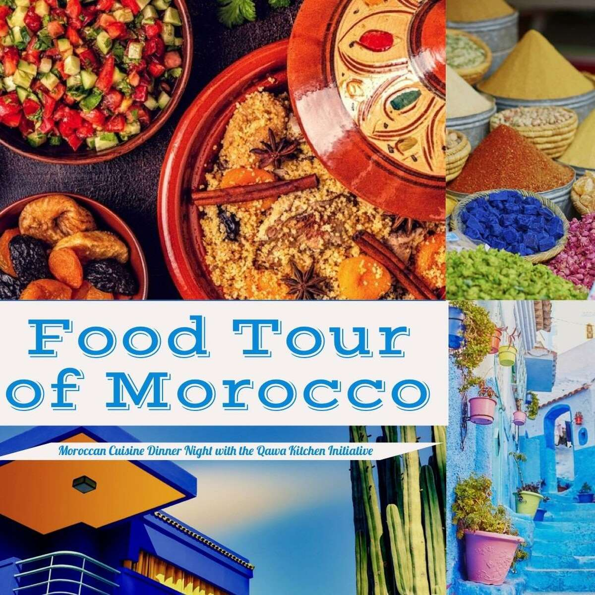 In July, the Qawa Kitchen Initiative is dedicated to spreading awareness of food insecurity and poverty in the Middletown community through its Moroccan Food Tour.