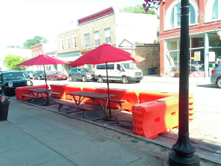 "One restaurant taking part in the Manistee Area Chamber of Commerce ""Downtown Reinvigoration Plan"" that will allow for additional outdoor seating is Taco 'Bout It. (Michelle Graves/News Advocate)"