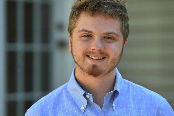 St. Luke's valedictorian Chris Walsh at his home in Fairfield on Thursday.