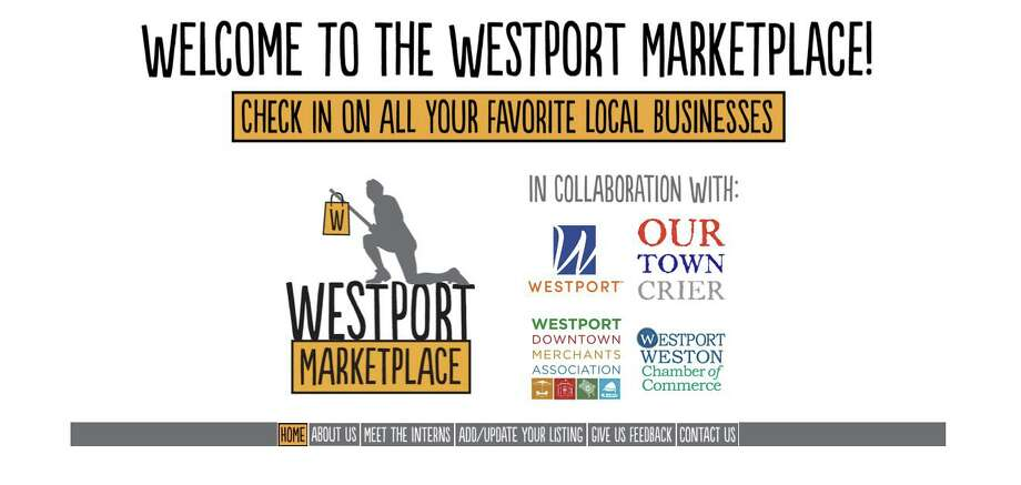 The home page for the Westport Marketplace, a new initiative to connect the community to local businesses. Photo: Www.ourtowncrier.com /westportmarketplace