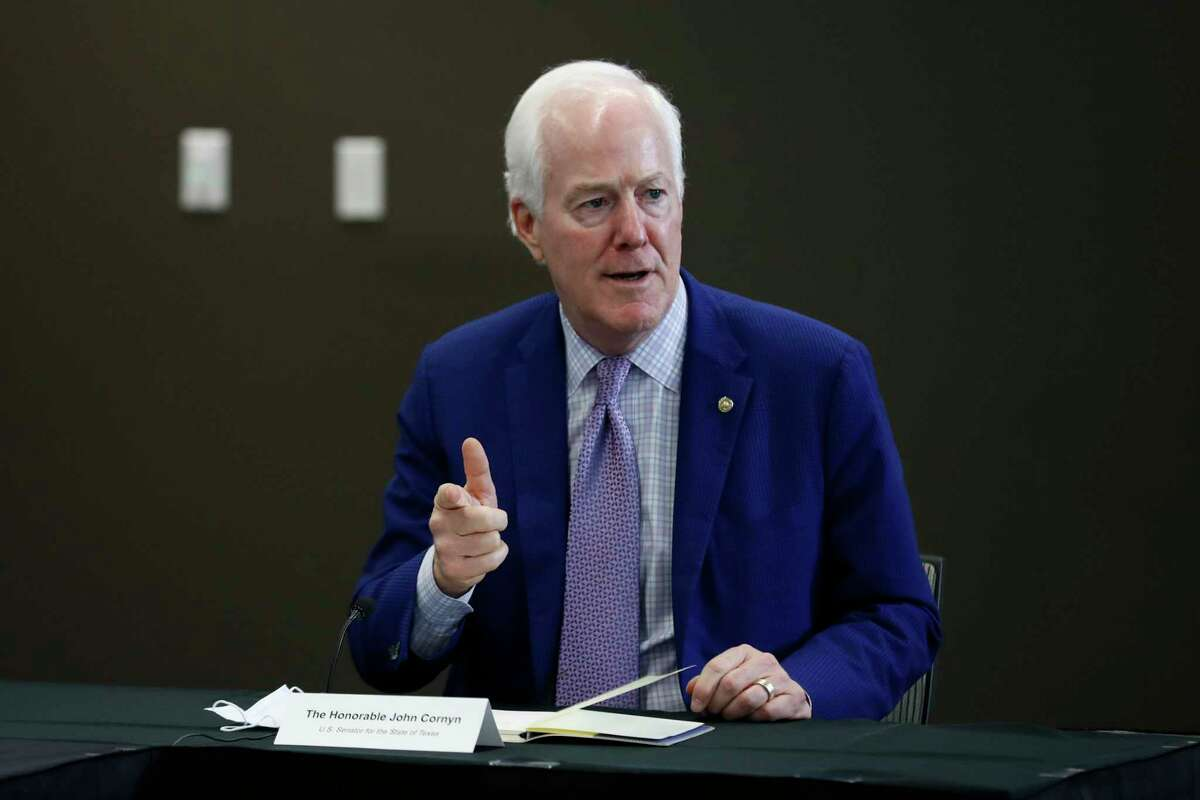 Sen. John Cornyn, R-Texas, makes comments during a news conference after Vice President Mike Pence met with Texas Gov. Greg Abbott and members of his healthcare team regarding COVID-19 at the University of Texas Southwestern Medical Center West Campus in Dallas, Sunday, June 28, 2020. (AP Photo/Tony Gutierrez)
