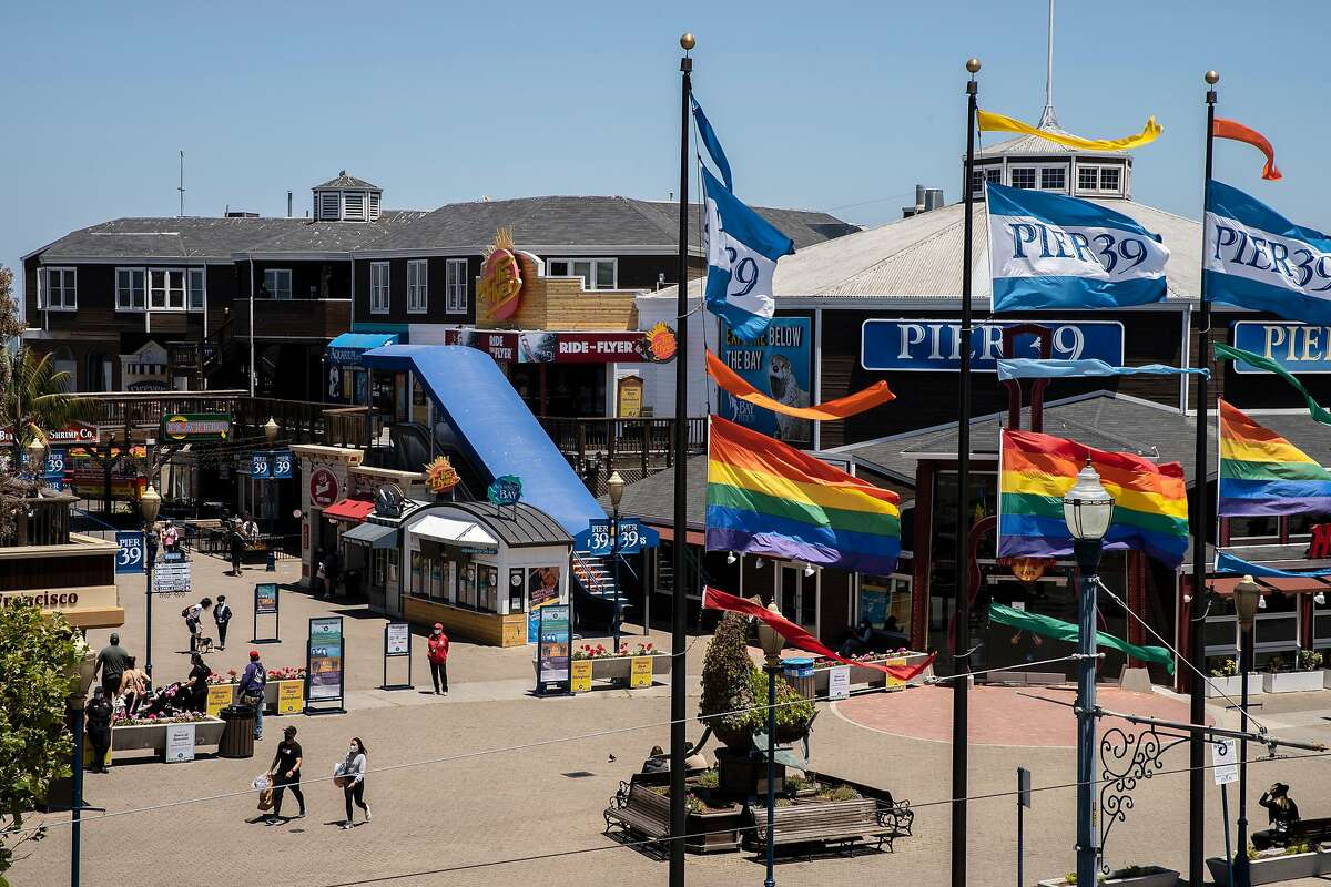 Pier 39 on Tuesday, June 30, 2020, in San Francisco, Calif. Businesses along the Fisherman�s Wharf and Pier 39 are reportedly operating at around 20% the usual amount and struggling without the usual massive daily flood of tourists, amid the coronavirus pandemic.