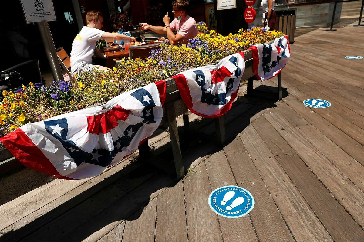 Pier Market is open for outside dining on Pier 39 in San Francisco, Calif., on Wednesday, July 2, 2020. The Bay Area and California are struggling to control the coronavirus after having success with shelter in place earlier in 2020.