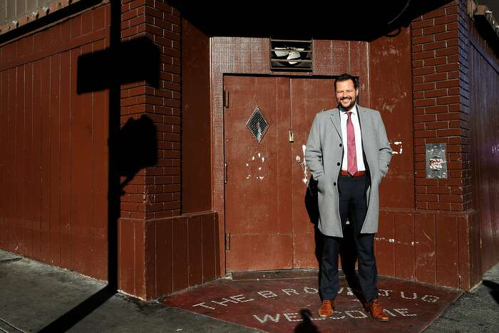 San Francisco District 6 Supervisor Matt Haney poses for a portrait at the corner of Eddy and Hyde streets in San Francisco, Calif., on Friday, February 7, 2020. Since entering City Hall last year, Haney has quickly emerged as one of the most visible and active supervisors.