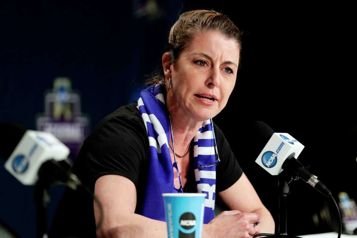FILE - In this March 23, 2018, file photo, Duke head coach Joanne P. McCallie speaks during a news conference at the NCAA women's college basketball tournament, in Albany, N.Y. McCallie wona€™t return for a 14th season as Dukea€™s womena€™s basketball coach. McCallie announced her departure in a 6-minute video posted Thursday, July 2, 2020, on the programa€™s Twitter account. She said she was a€œchoosing to step awaya€ as coach, saying she wanted to bring a€œclaritya€ instead of uncertainty as she entered the final year of her contract. (AP Photo/Frank Franklin II, File)