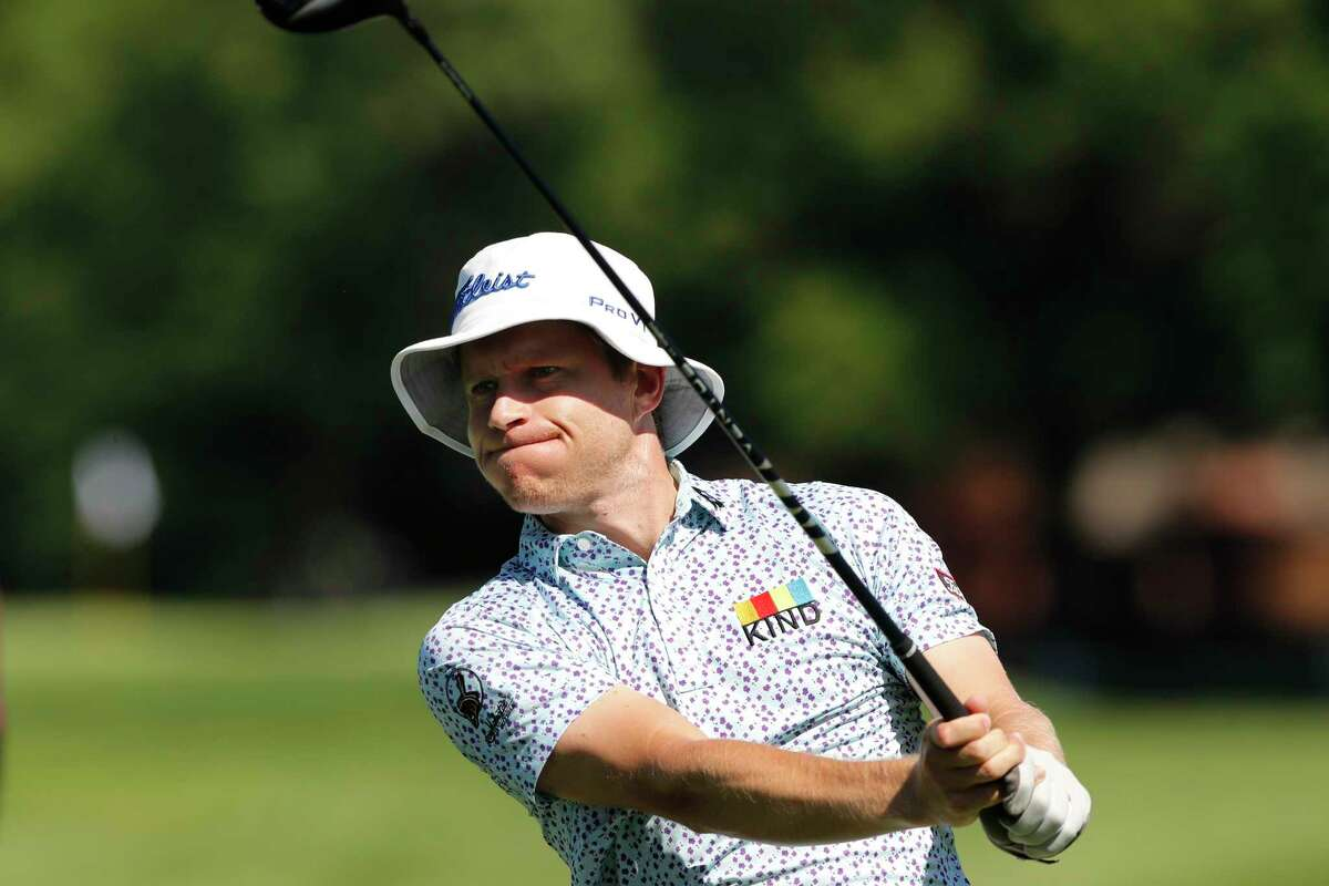 Peter Malnati hits from the second tee during the first round of the Rocket Mortgage Classic golf tournament, Thursday, July 2, 2020, at the Detroit Golf Club in Detroit. (AP Photo/Carlos Osorio)