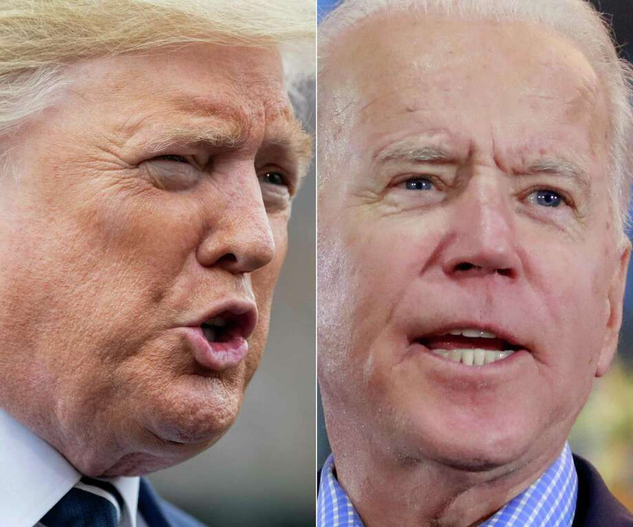 (FILES)(COMBO) This combination of file photos shows US President Donald Trump(L) speaking to the media prior to departing from the White House in Washington, DC, on March 3, 2020, and Democratic presidential hopeful and former Vice President Joe Biden  at a Nevada Caucus watch party on February 22, 2020, in Las Vegas, Nevada, during the Nevada caucuses. - Joe Biden has a 14-point lead over US President Donald Trump ahead of the November election as some Republican-leaning voters reproach Trump for his response to the coronavirus crisis, a poll showed on June 24, 2020.In one of Trump's worst poll showings for the 2020 race, the Democrat Biden garnered 50 percent of the vote compared with 36 percent for the president, according to a survey by the New York Times and Siena College.Recent polls have found Biden 10 points ahead of the president on average. (Photos by SAUL LOEB and Ronda Churchill / AFP) (Photo by SAUL LOEB,RONDA CHURCHILL/AFP via Getty Images) Photo: SAUL LOEB / AFP or licensors