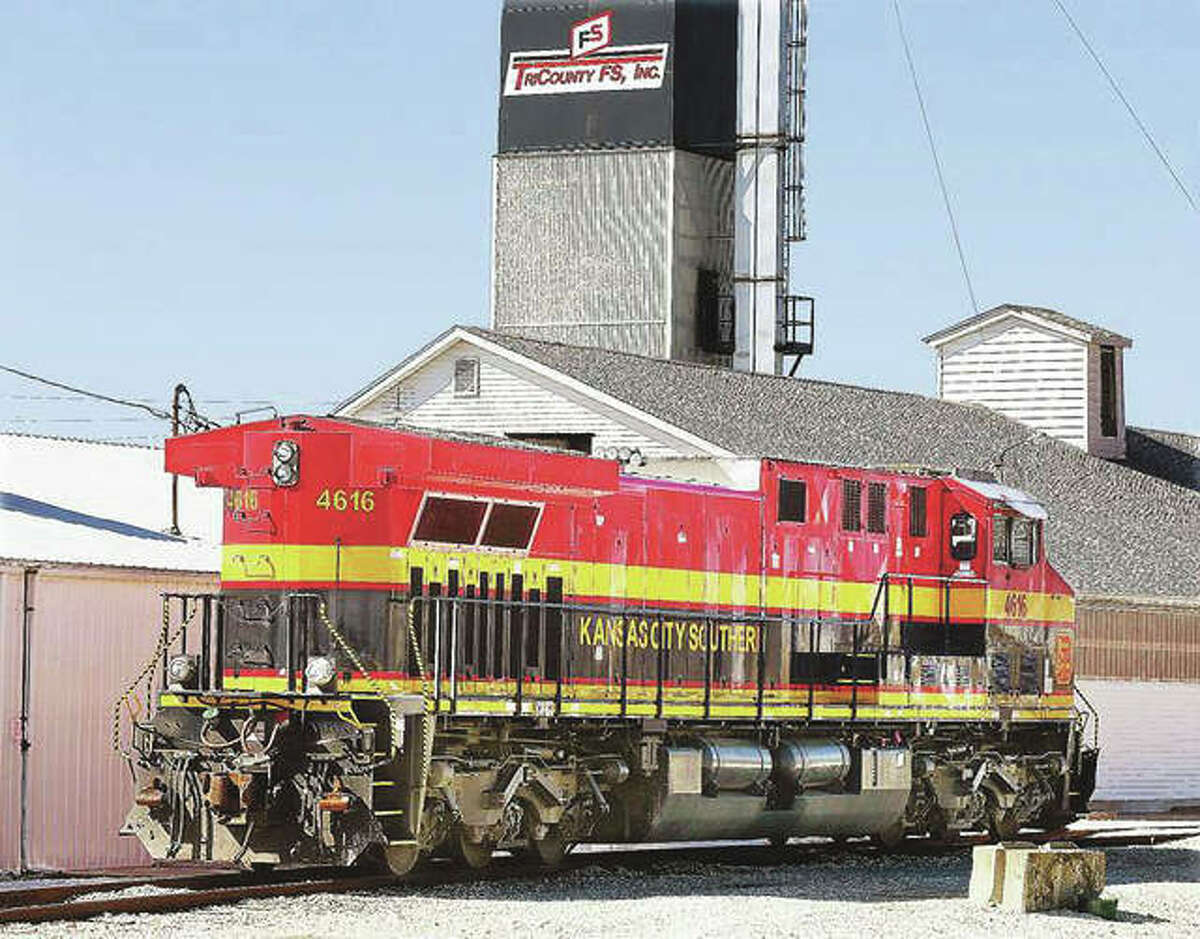 A Kansas City Southern train engine idles in the yard at the TriCounty FS facility in Jerseyville. Jerseyville Mayor William Russell said work could begin this fall on a 3-mile section of U.S. 67 known as the Delhi Bypass to aid industrial development in Jersey County.