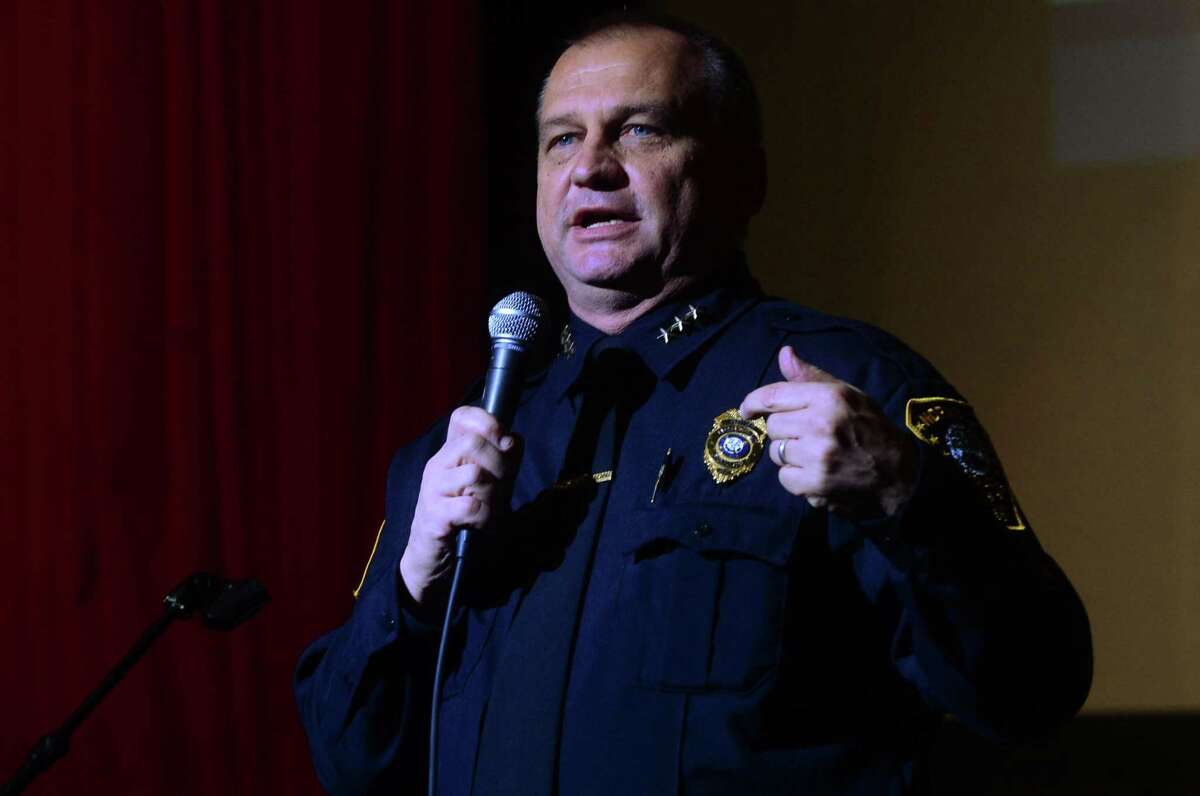 Norwalk Police Chief Thomas Kulhawik speaks at Norwalk High School before the program, Choose2Live, presented to 11th and 12th graders by M. Quentin Williams, founder and chairman of Dedication to Community (D2C), former FBI agent and federal prosecutor, Thursday, January 26, 2017 in Norwalk, Conn.