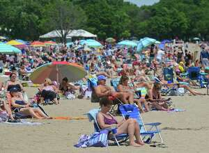 Visitors flocked to Calf Pasture Beach in Norwalk, Conn. to celebrate Independence Day weekend in 2016.