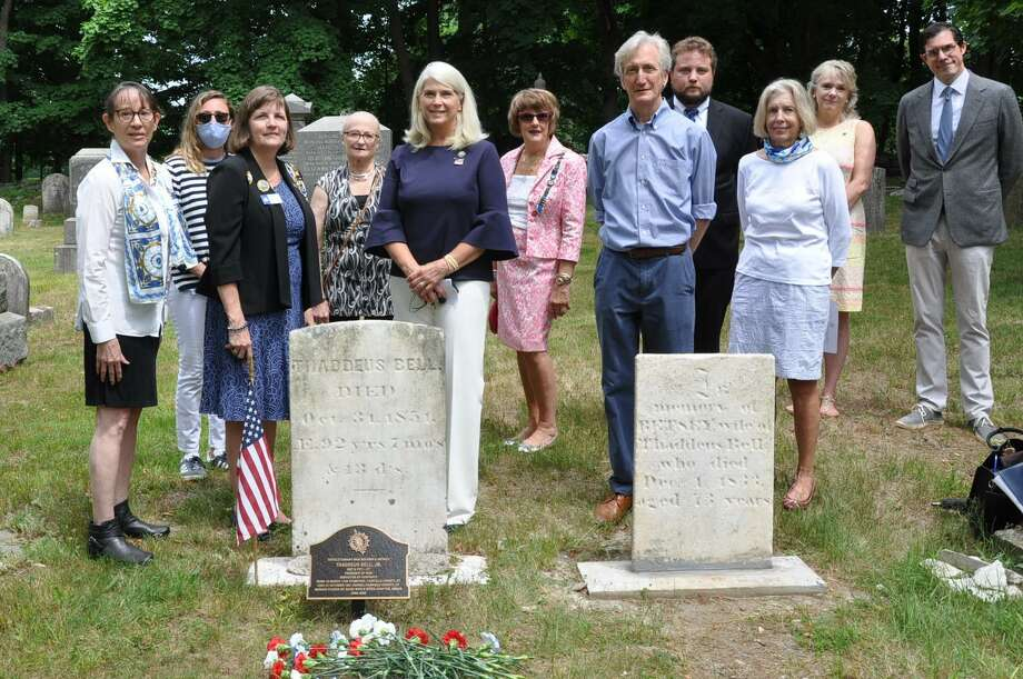 Good Wife's River Chaplain Carol Wilder-Tamme; Regent Nicole Gorman; CTDAR Treasurer & Master of Ceremonies Katherine Love; Patriotic Events Chairman, Virginia Otis; First Selectman Jayme Stevenson; Honorary Regent Karen Polett; Darien Bicentennial Committee Chairman Alan Miller; tombstone restorer and Grand Historian of the Grand Lodge AF and AM of the State of CT, Andrew Melillo; DAR Constitution Week co-chairman Rebecca Siciliano; with Darien Historical Society Executive Director Margaret McIntire and Society President Bob Pascal. Right, Photo: Contributed Photo / Darien Daughters Of The American Revolution