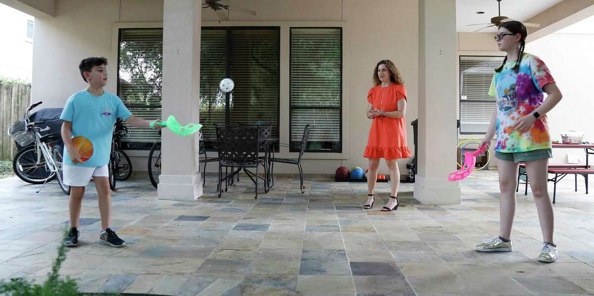 Rabbi Adrienne Scott at Beth Israel started the Scott Family Camp, for her kids Beryt, 12, and 9-year old son Ezra at their home, Tuesday, June 30, 2020, in Houston . Story about how faith communities are coping with a lack of religious summer camp options this year.