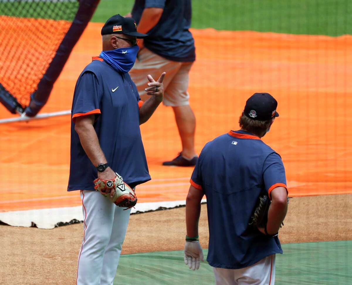 Houston Astros pitching coach Brent Strom during the first day of the Houston Astros Summer Camp at Minute Maid Park, Friday, July 3, 2020, in Houston.