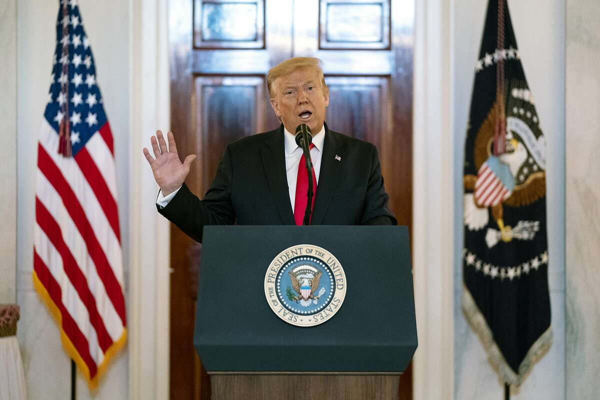 President Donald Trump speaks during the Spirit of America Showcase at the White House, Thursday, July 2, 2020, in Washington. (AP Photo/Evan Vucci)