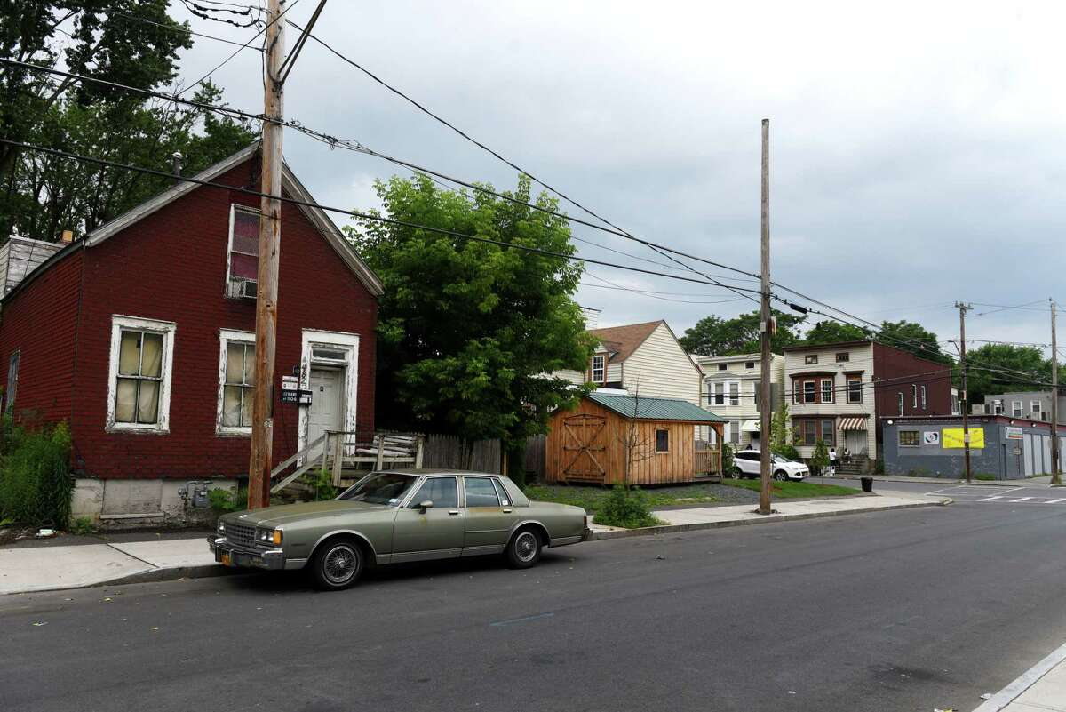 View of Kizzy Williams' lot on the corner of Quail and First streets, center, which she is turning into a cultural hub on Friday, July 3, 2020, in Albany, N.Y. Williams is the owner of Allie B?•s Cozy Kitchen. She hopes her purchase and efforts will inspire Black ownership of land and homes. (Will Waldron/Times Union)