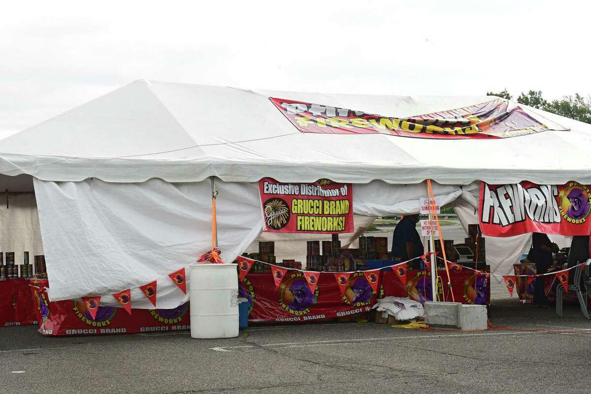 A roadside fireworks stand in Colonie last year, which had to relocate to outside of the county this year. Fireworks sales are booming this year despite a ban on selling and using them in Albany County. (Lori Van Buren/Times Union)