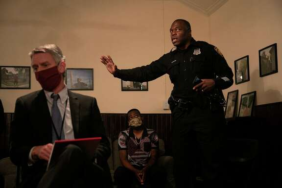 "SAPD Officer Richard Odoms, right, talks about traffic stop procedures during a town hall meeting on ""Criminal Justice Reform"" and ""Policing in our communities moving forward"" in San Antonio on June 24. The town hall was the third meeting on the topic. At left is Christian Henricksen, Chief of Litigation at the Bexar County District Attorney's Office, and center is SAPD Officer Levon Harrison. A reader says being uncomfortable is no excuse for avoiding a discussion about race."