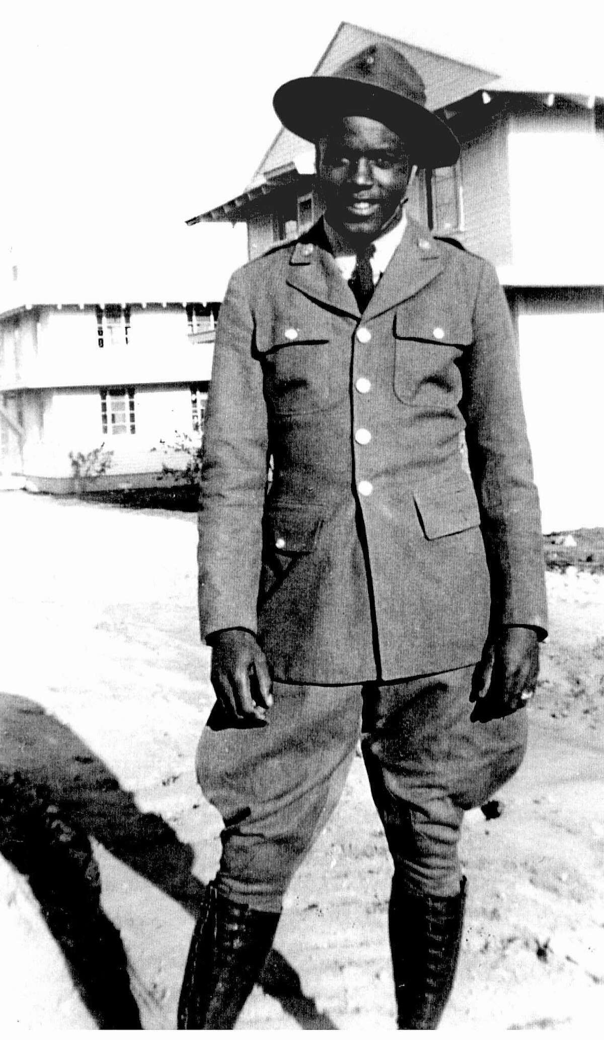 ADVANCE FOR SUNDAY, NOV. 12--SOU--FILE--Although the military services were segregated during the World War II, many black young men, including future Brooklyn Dodger Jackie Robinson, shown in uniform in this undated photograph taken at Camp Hood, Tex., served their country, through black-only units, squadrons, and battalions, such as the 761st Tank Battalion nicknamed 'Black Panthers.' Robinson was kicked out of the 'Black Panthers' unit because he sat next to a white officer's wife on a segregated bus. (AP Photo/E.G. McConnell Personal Collection)