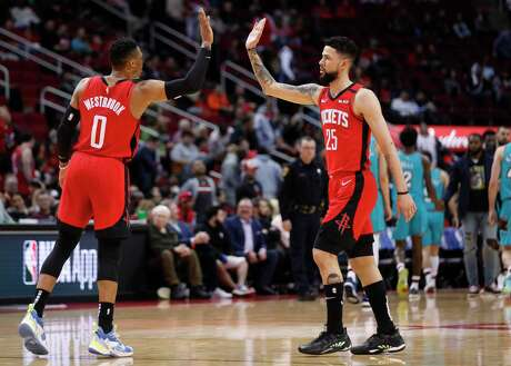 Austin Rivers, giving Russell Westbrook a high five back when the Rockets were still playing, says team chemistry will be a key when the NBA resumes in Orlando.