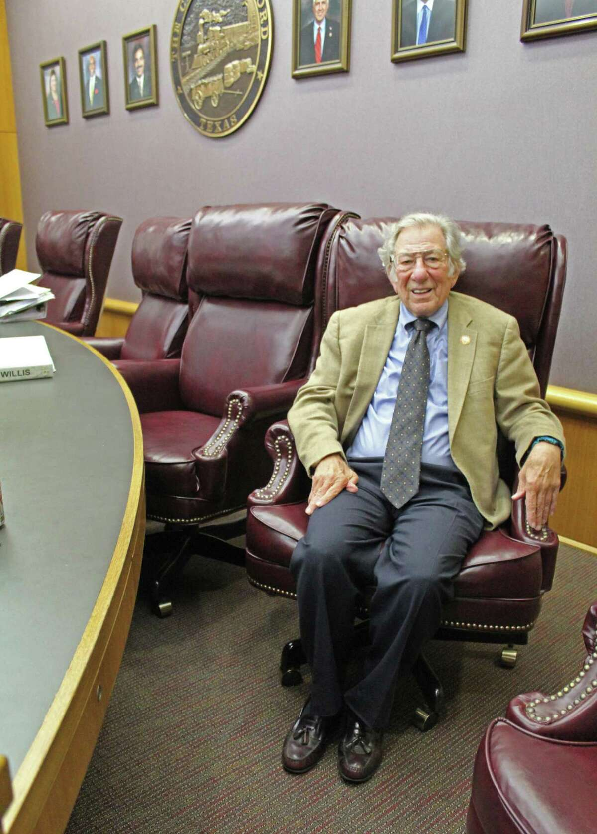 Mayor Leonard Scarcella at Stafford City Hall in October 2019. Scarcella, who served as the city's mayor from 1969 until his death in 2020, will be replaced by one of four candidates when votes are cast and counted in the general election.