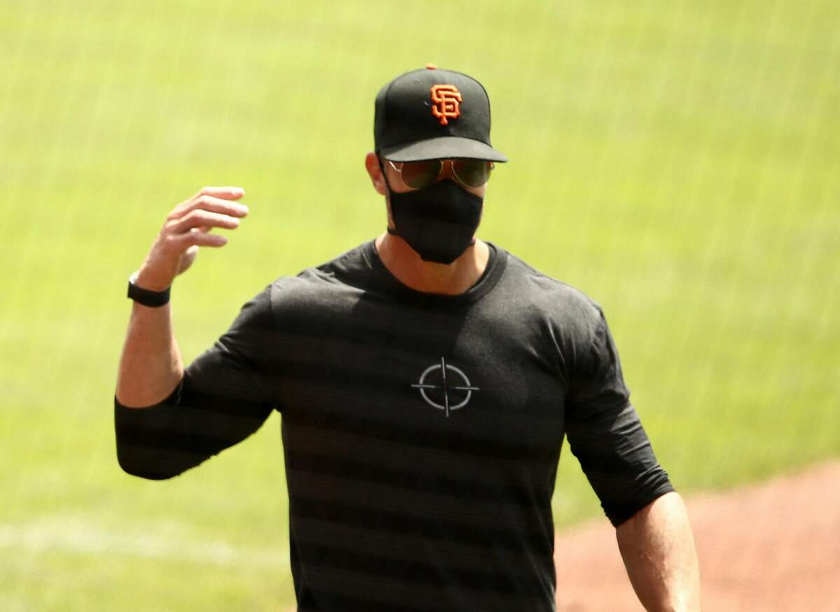SAN FRANCISCO, CALIFORNIA - JULY 03: Manger Gabe Kapler of the San Francisco Giants walks to the dugout during summer workouts at Oracle Park on July 03, 2020 in San Francisco, California. (Photo by Ezra Shaw/Getty Images)