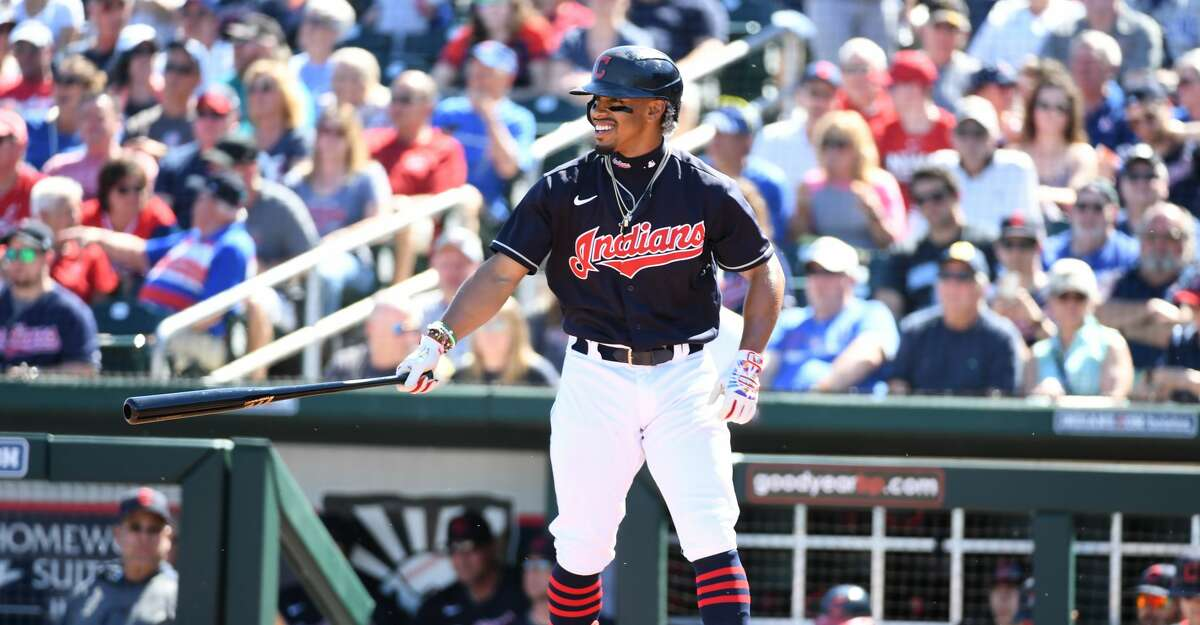 Francisco Lindor #12 of the Cleveland Indians gets ready to step into the batters box against the Chicago Cubs during a spring training game at Goodyear Ballpark on March 07, 2020 in Goodyear, Arizona. (Photo by Norm Hall/Getty Images)