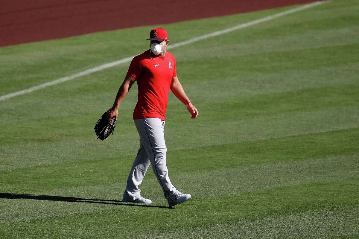 ANAHEIM, CALIFORNIA - JULY 03: Mike Trout #27 of the Los Angeles Angels looks on during their summer workouts at Angel Stadium of Anaheim on July 03, 2020 in Anaheim, California. (Photo by Sean M. Haffey/Getty Images)