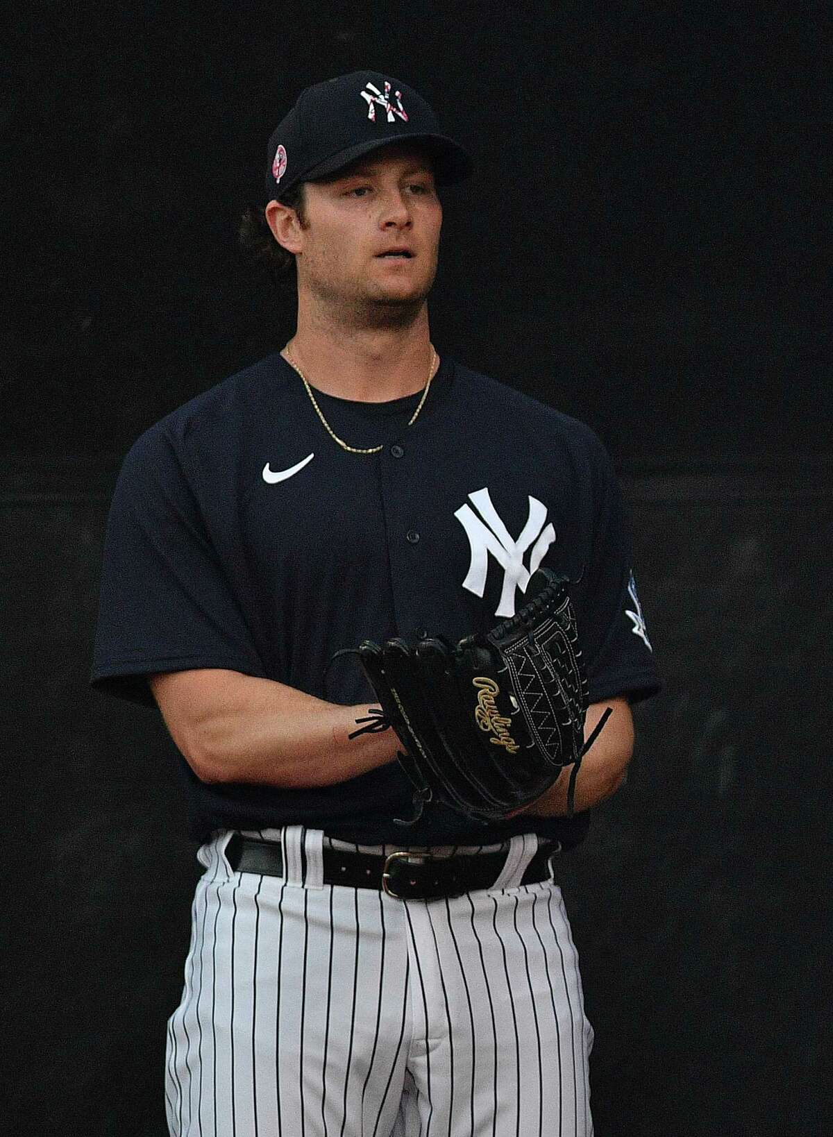 TAMPA, FLORIDA - FEBRUARY 24: Gerrit Cole #45 of the New York Yankees warms up before the spring training game against the Pittsburgh Pirates at Steinbrenner Field on February 24, 2020 in Tampa, Florida. (Photo by Mark Brown/Getty Images)