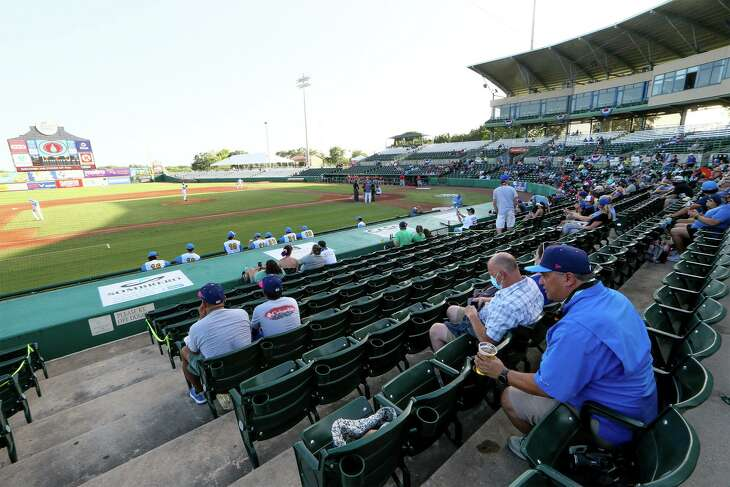 Fans wait for the start of the Flying Chanclas de San Antonio's home opener in the summer Texas Collegiate League against the Acadiana Cane Cutters at Wolff Stadium on July 3, 2020.