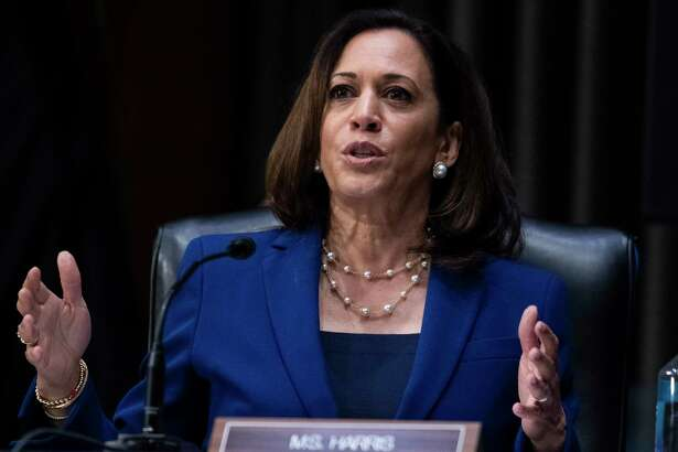 In this June 16, 2020, photo, Sen. Kamala Harris, D-Calif., asks a question during a Senate Judiciary Committee hearing on police use of force and community relations on on Capitol Hill in Washington. Seven months after ending her presidential bid, Harris is at another crossroads moment in her political career. (Tom Williams/CQ Roll Call/Pool via AP)