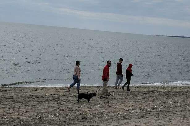 A family at Hammonasset Beach State Park last Sunday.