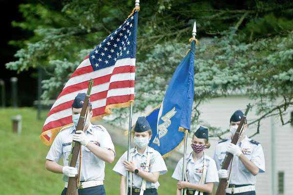 The New Fairfield Squadron of the Civil Air Patrol open the 4th of July ceremony at Memorial Park in New Fairfield. Saturday, July 4, 2020