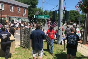 Competing rallies are conducted at a Bethlehem intersection on Saturday July 4, 2020.